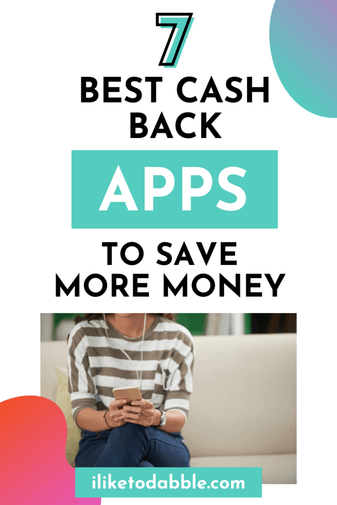 vertical image with a woman using cash back apps with headphones in her ears.