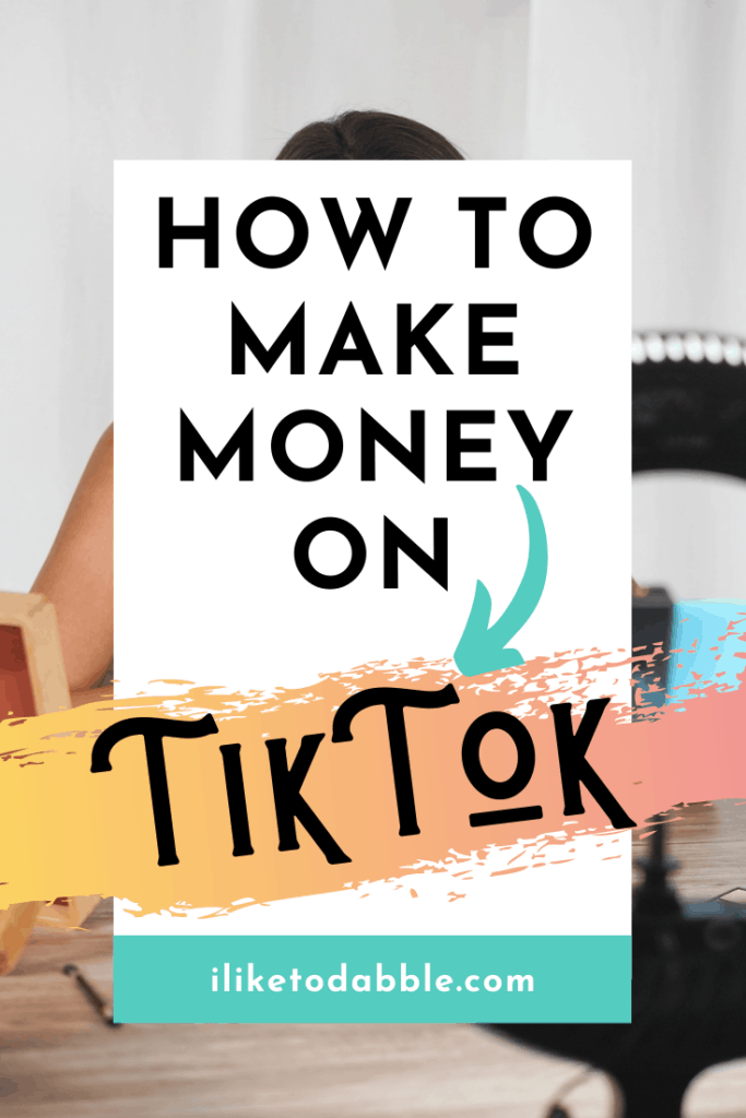 Woman making money with tiktok in front of a ring light with title text overlay