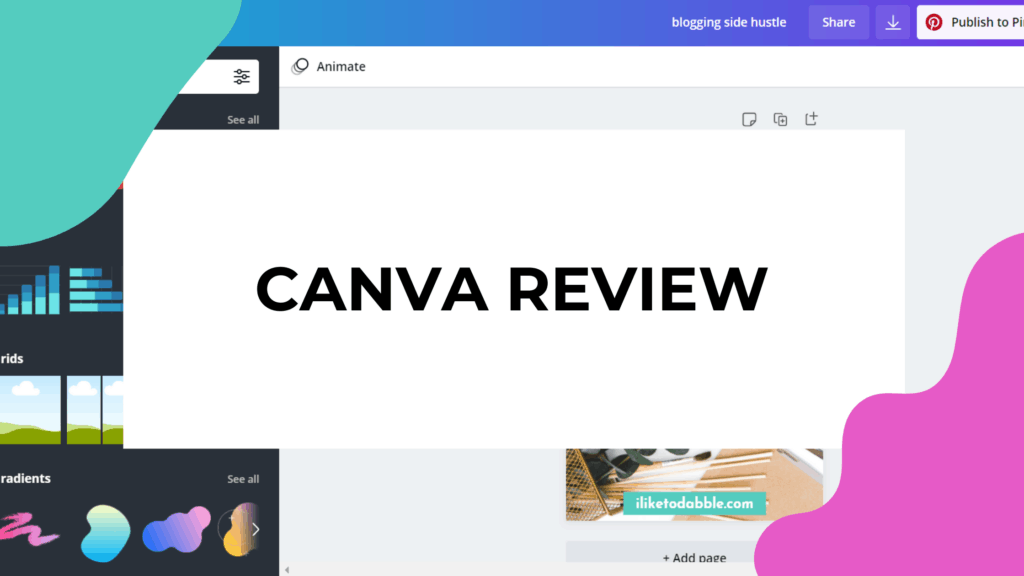 Canva review featured image with a screenshot of the design studio in canva