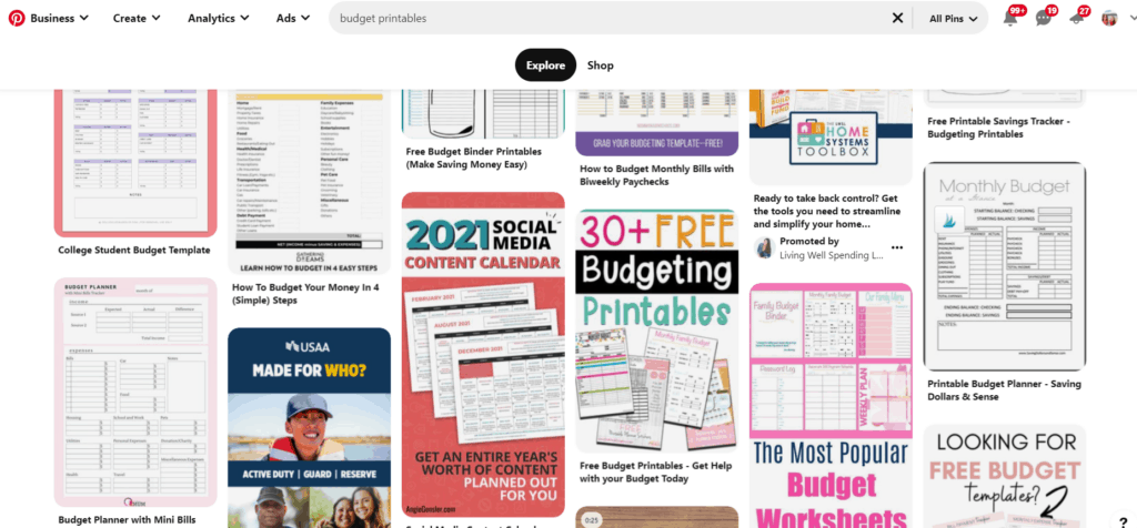 screenshot of searching for printables in pinterest
