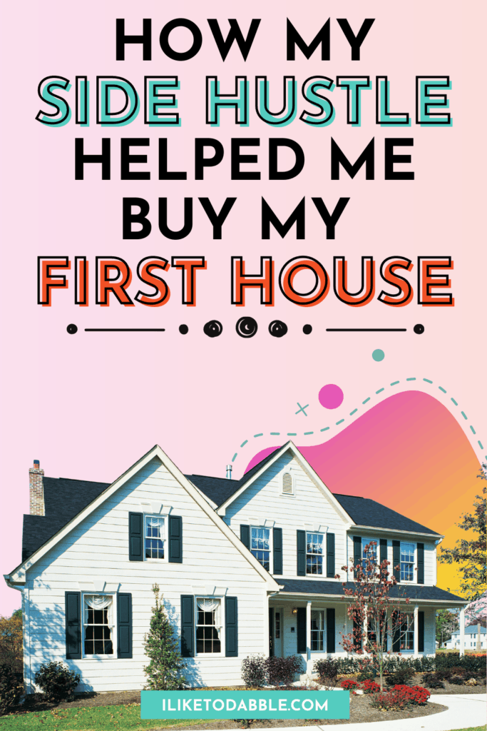 Vertical image of a house with colorful blob and text overlay