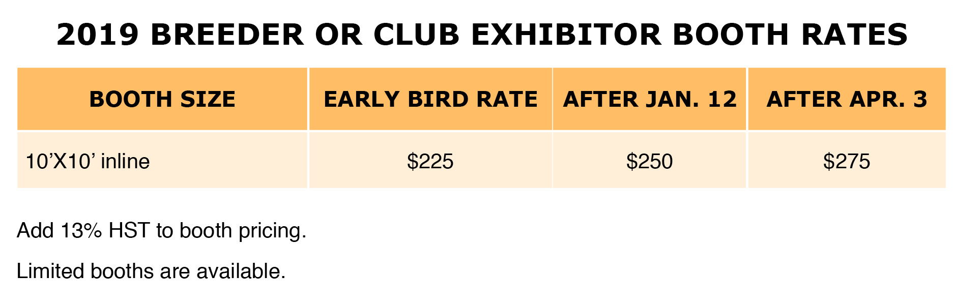 2019 Club or Breeder Booth Rates