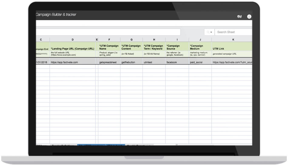Facebook Campaign URL UTM Builder spreadsheet & Report Tracker