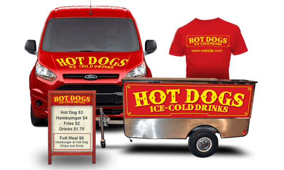 hot dog cart advertising