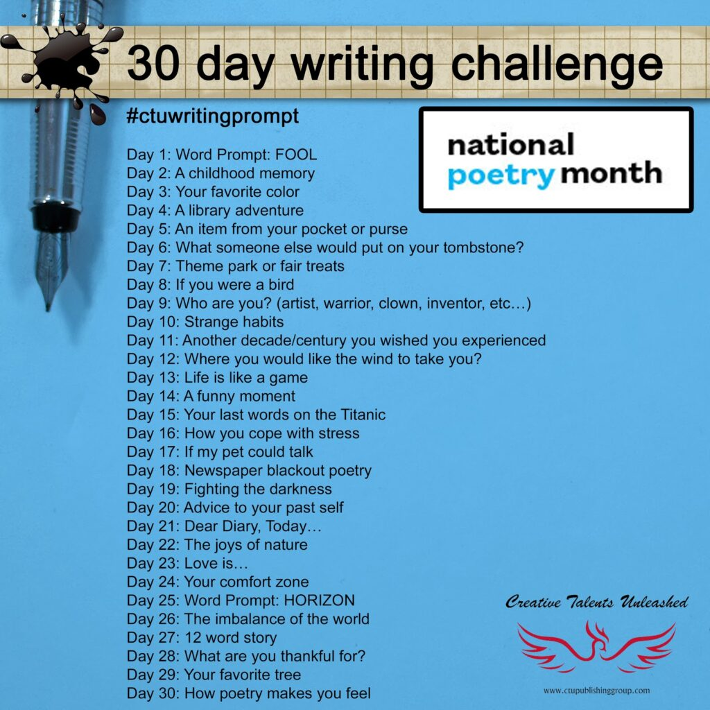 30 day writing challenge from Creative Talents Unleashed