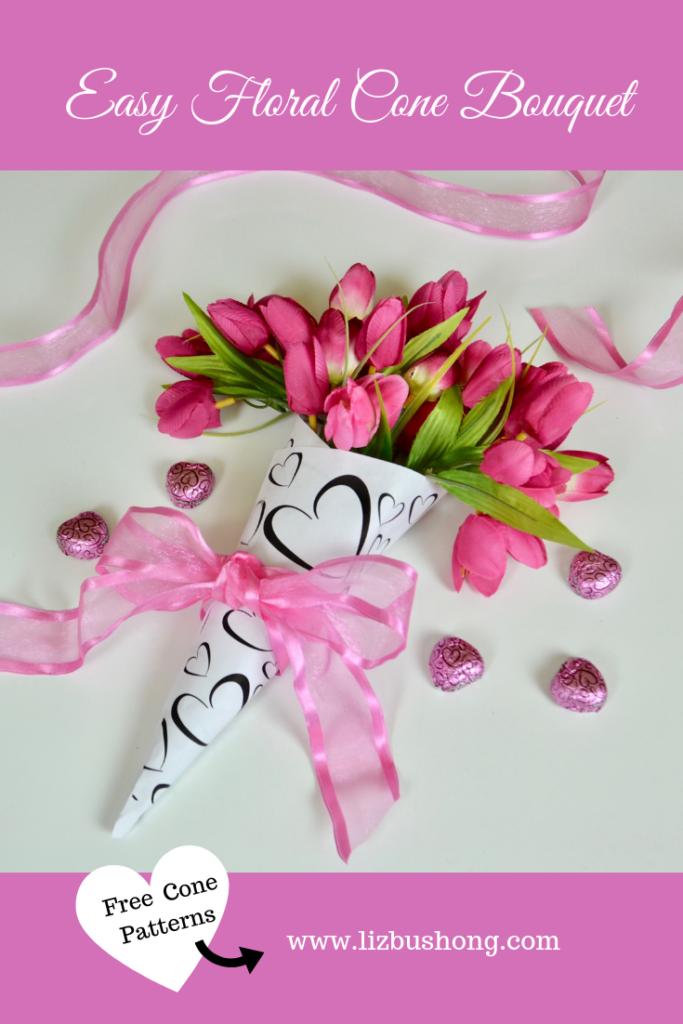 Floral Cone Bouquet DIY lizbushong.com