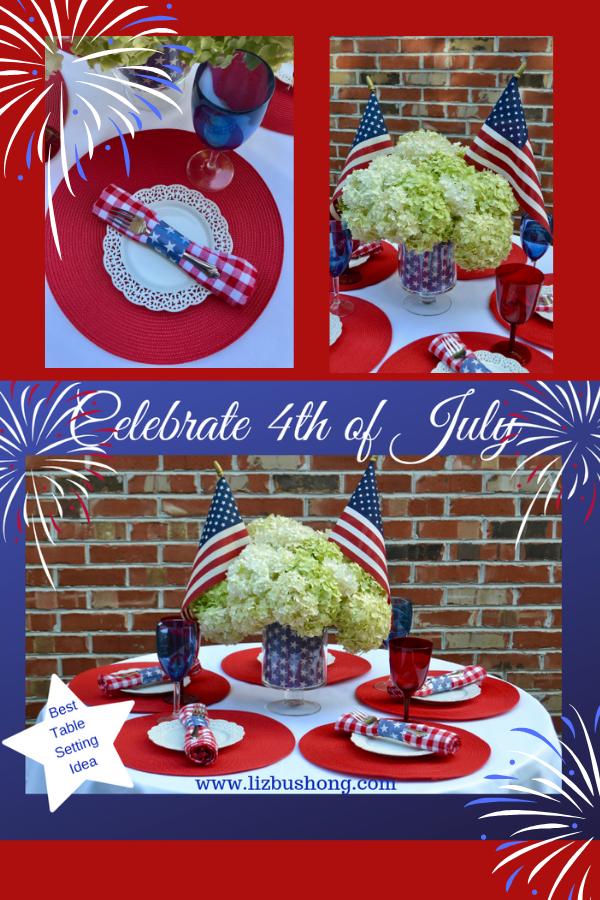 Pinterest graphic- 4th of July table setting-lizbushong.com