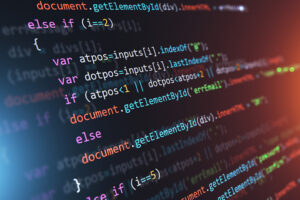 Creative abstract PHP web design, internet programming HTML language and digital computer technology business concept: 3D render illustration of the macro view of software source code on screen monitor with selective focus effect