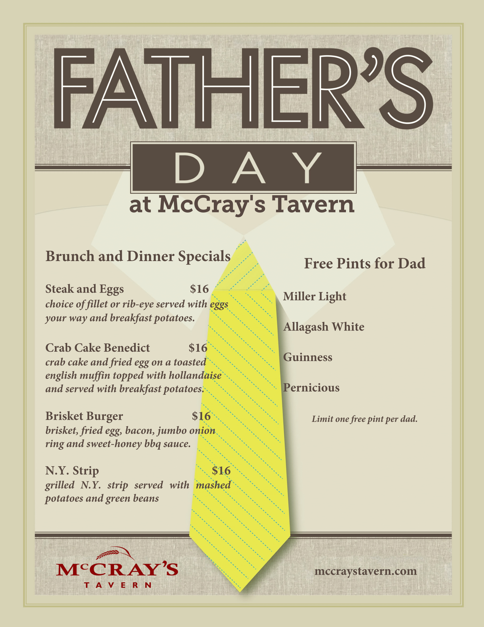 Fathers Day Dinner Specials at McCrays