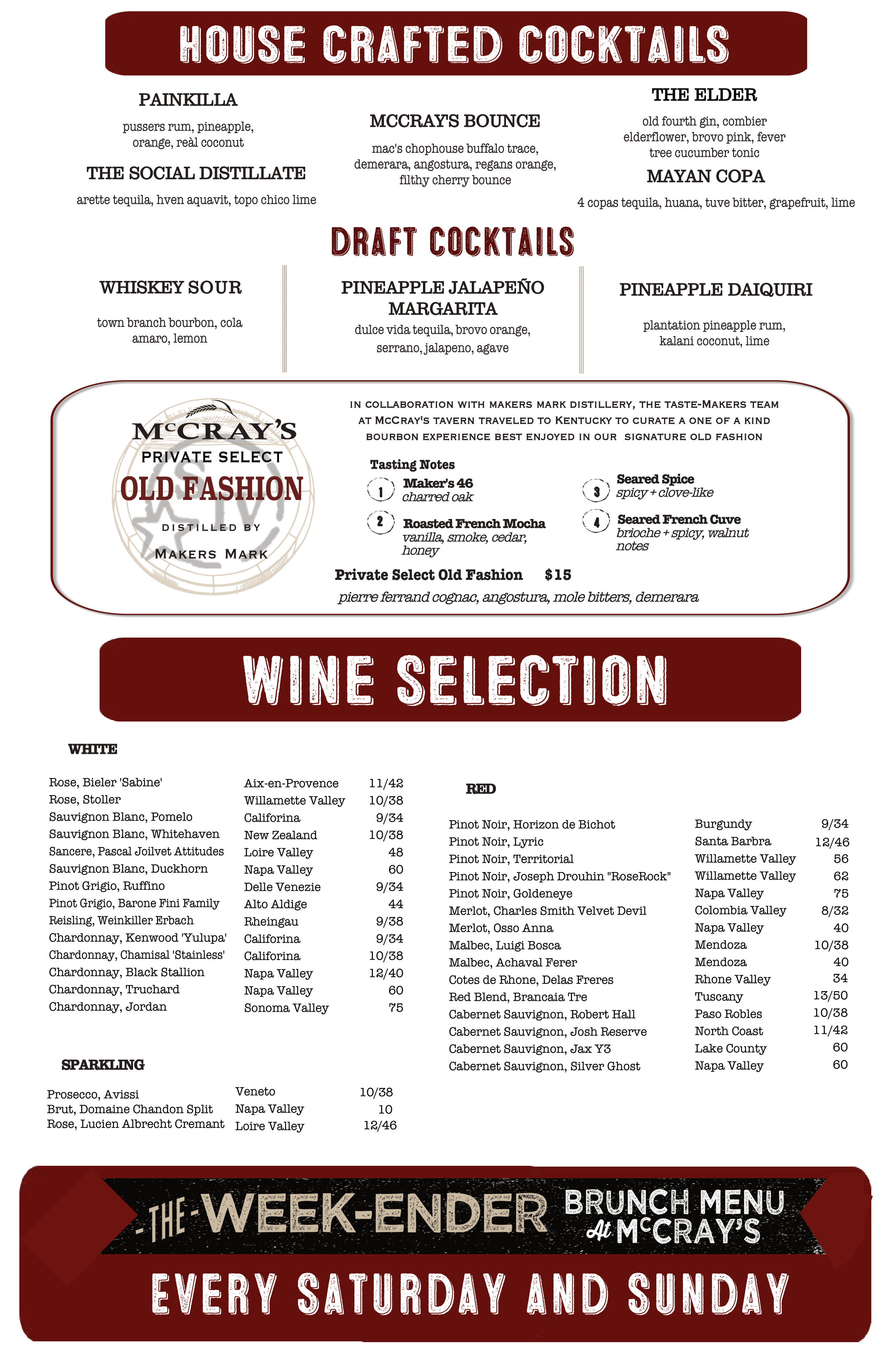 Smryna Cocktail Menu