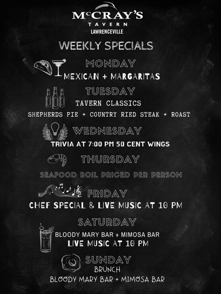 weekly specials at mccray's lawrenceville
