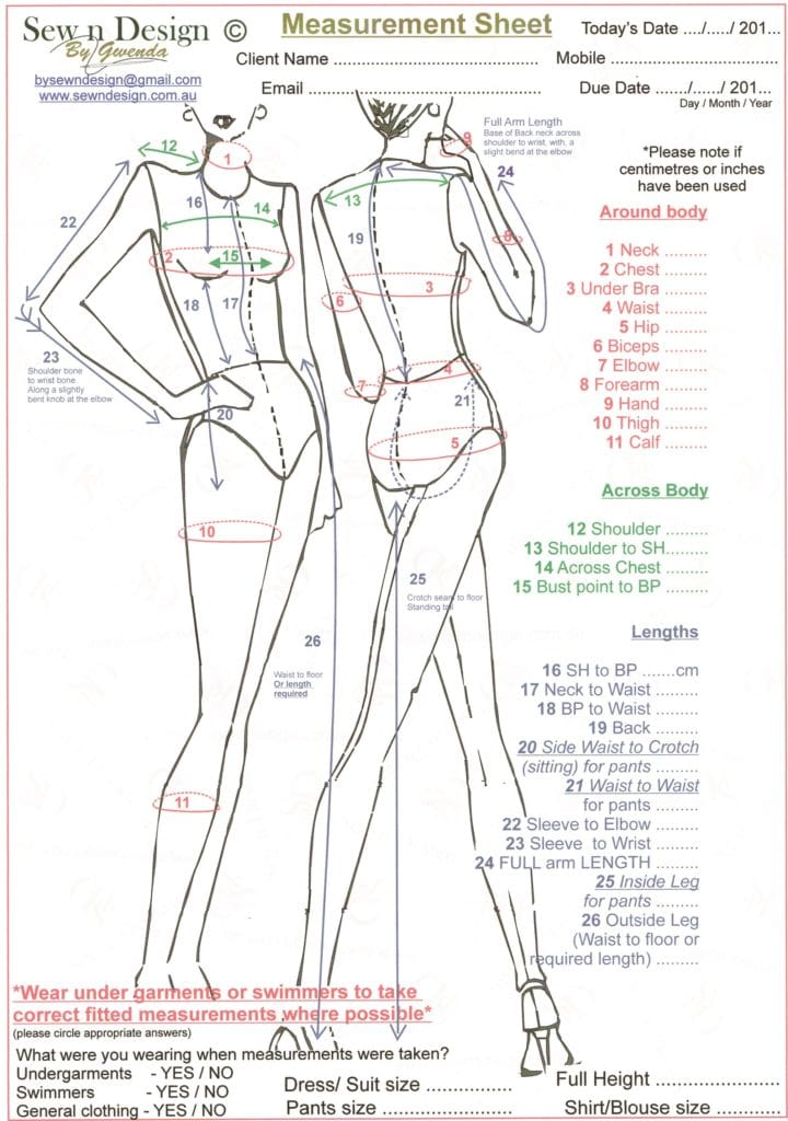 Full body Measurement Chart
