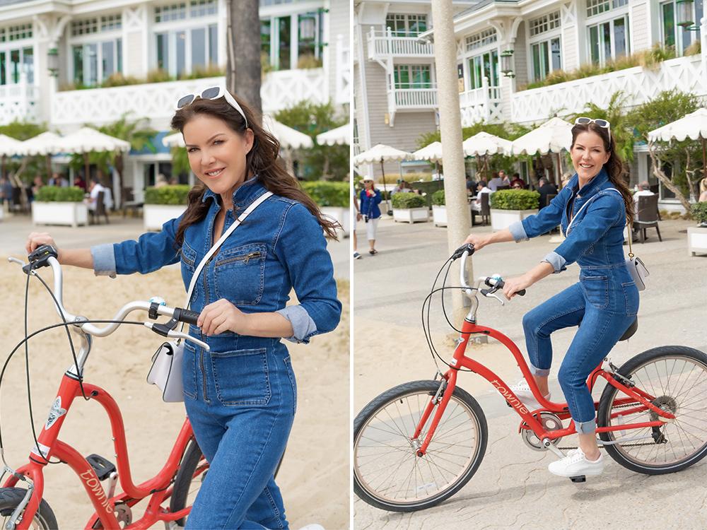 Kira biking around Santa Monica and Venice Beaches.
