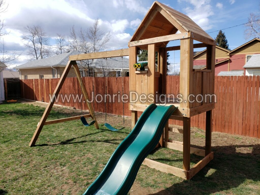 4'x4' Clubhouse with wooden roof, 4' Deck height, Standard slide, Ladder entry, Binoculars, 8' Swing beam with 2 Standard swings