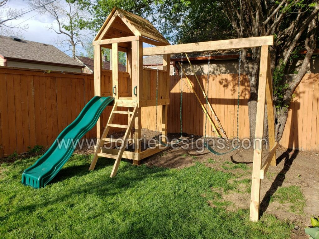4'x4' Clubhouse with wooden roof, 4' Deck height, Standard slide, Slanted ladder, 8' Swing beam with 2 Standard swings