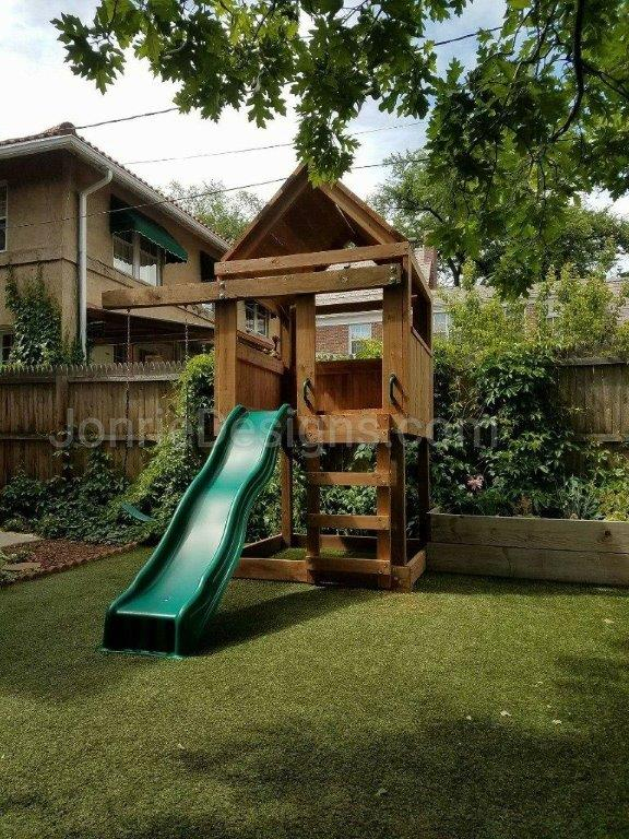 5'x5' Clubhouse with wooden roof, 4' Deck height, Standard slide, Ladder entry, 3' Cantilever & Standard swing