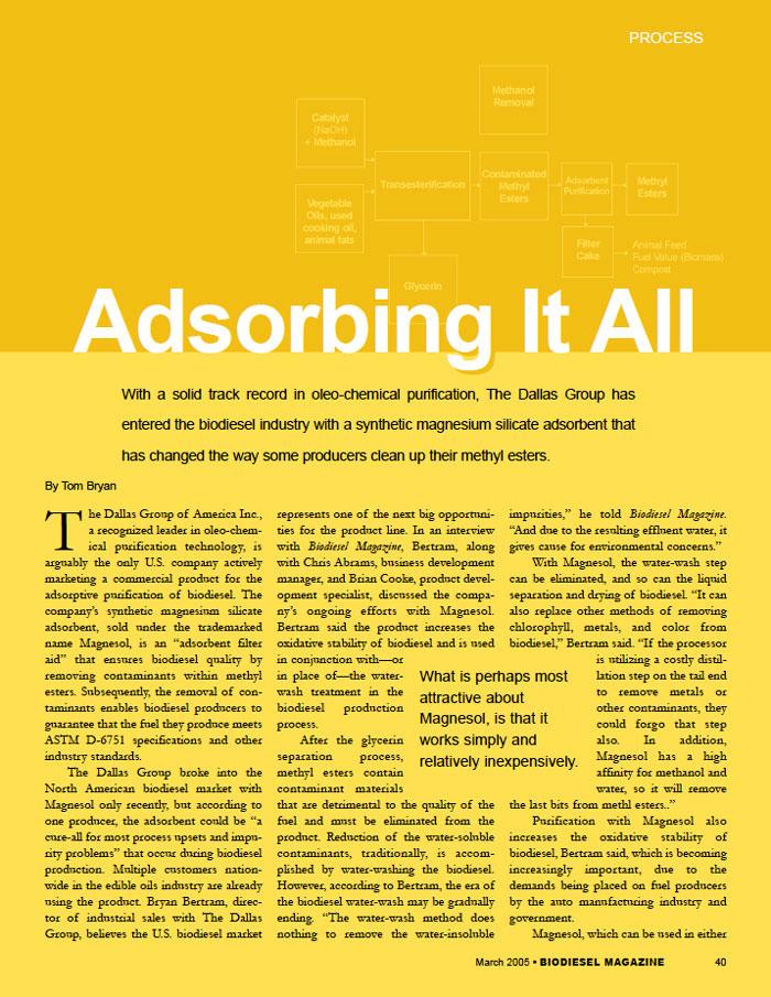 Biodiesel Magazine Article MAGNESOL