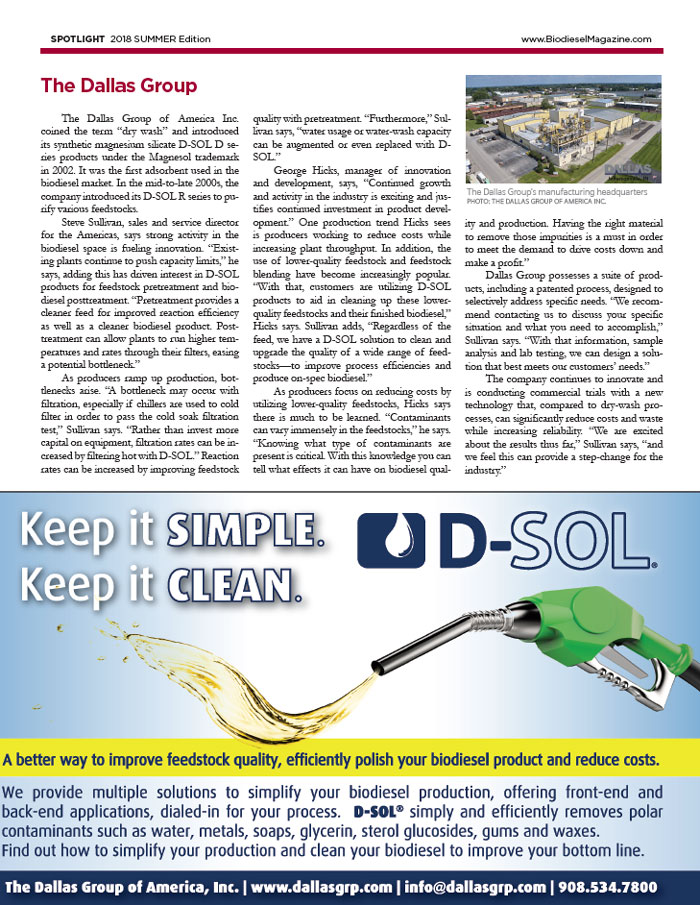 Spotlight Biodiesel Reprint The Dallas Group 2018