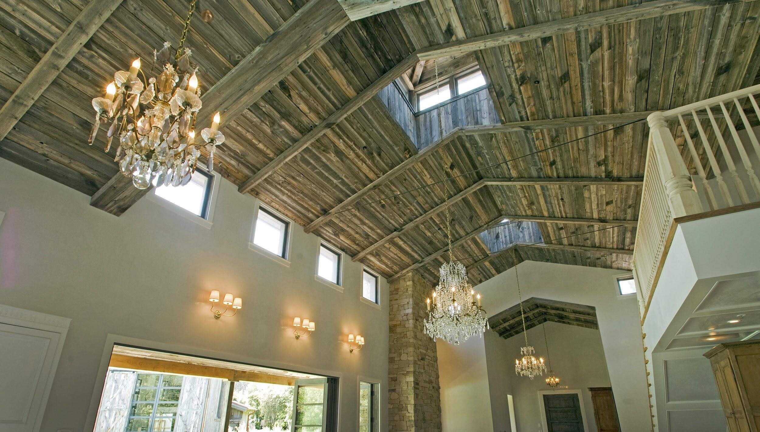 Reclaimed Wood ceiling.