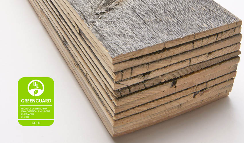 reclaimed wood certified for low chemical emissions.