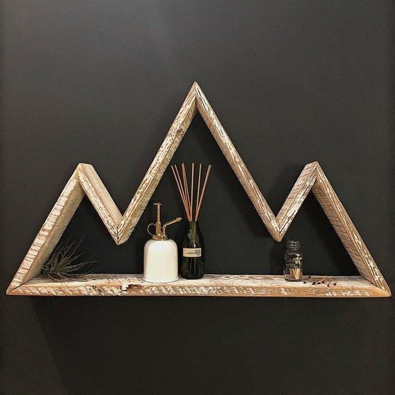White-wash mountain shelf made from reclaimed wood by Centennial Woods in Laramie, WY.