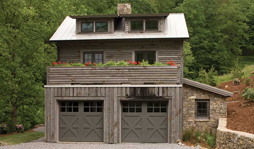 Use grey reclaimed wood for architectural exterior versatility in conjunction with a living green roof.