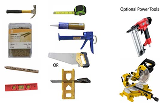 Image of the different tools needed to install a reclaimed wood wall.