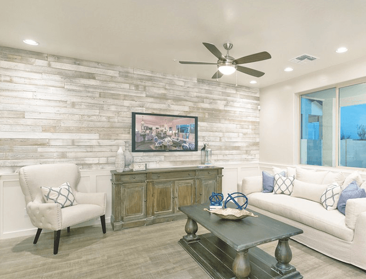 Whitewashed reclaimed wood paneling by Centennial Woods.
