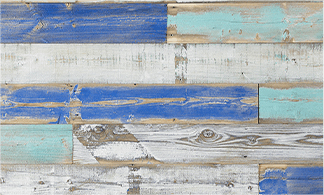 Reclaimed wood painted in distressed blue hues.