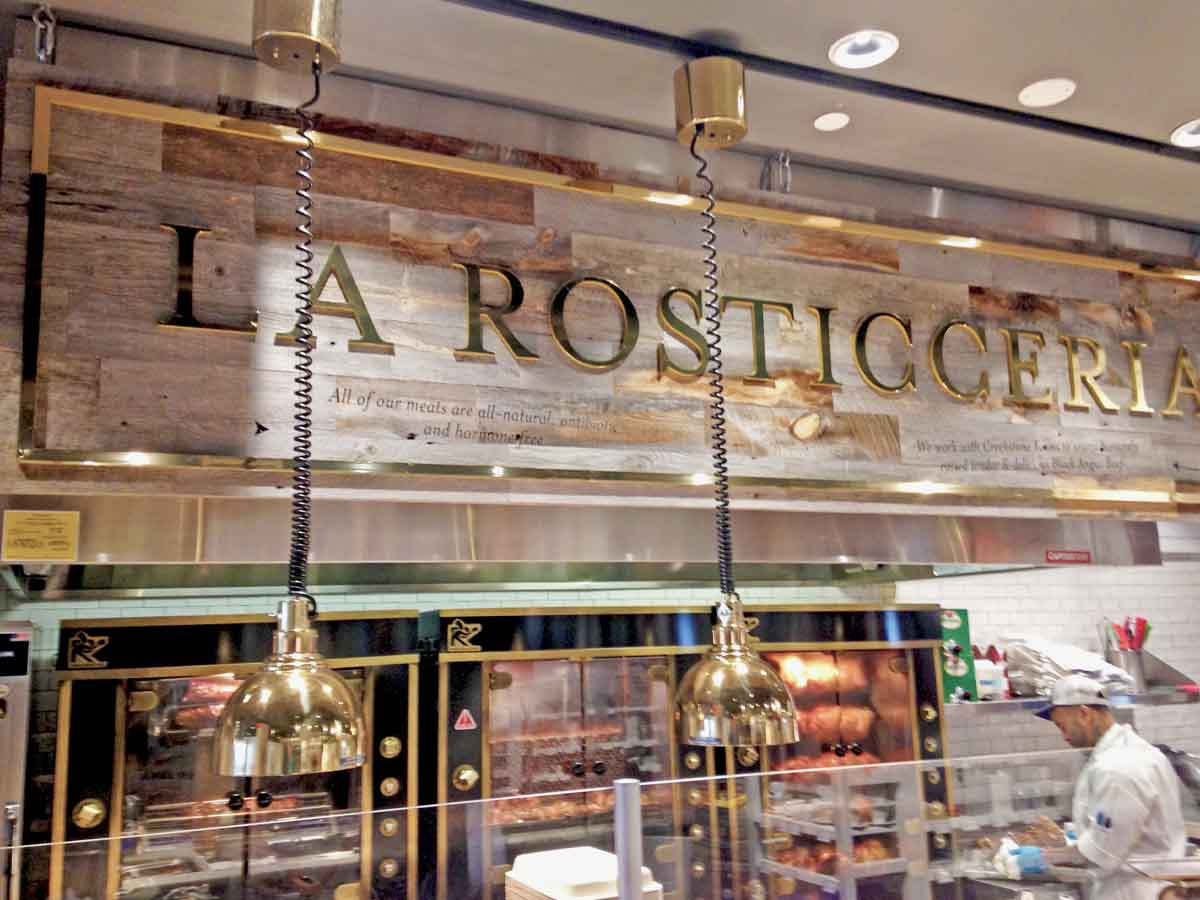 Reclaimed wood sign at Eataly in las Vegas, NV.