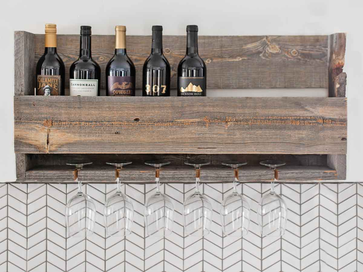 Wine rack made with reclaimed woods by Centennial Woods
