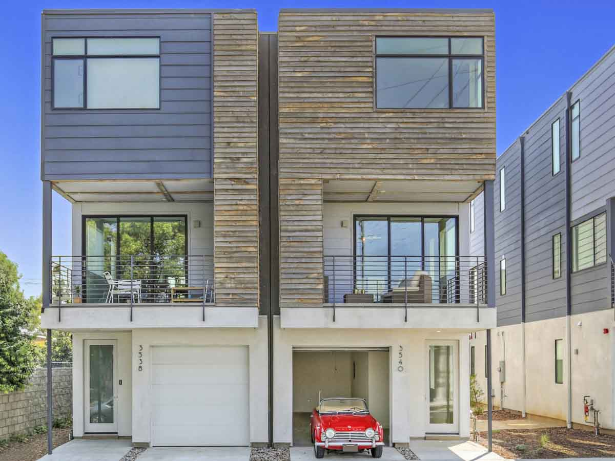 Reclaimed wood siding on a modular building in Atwater Village, CA.