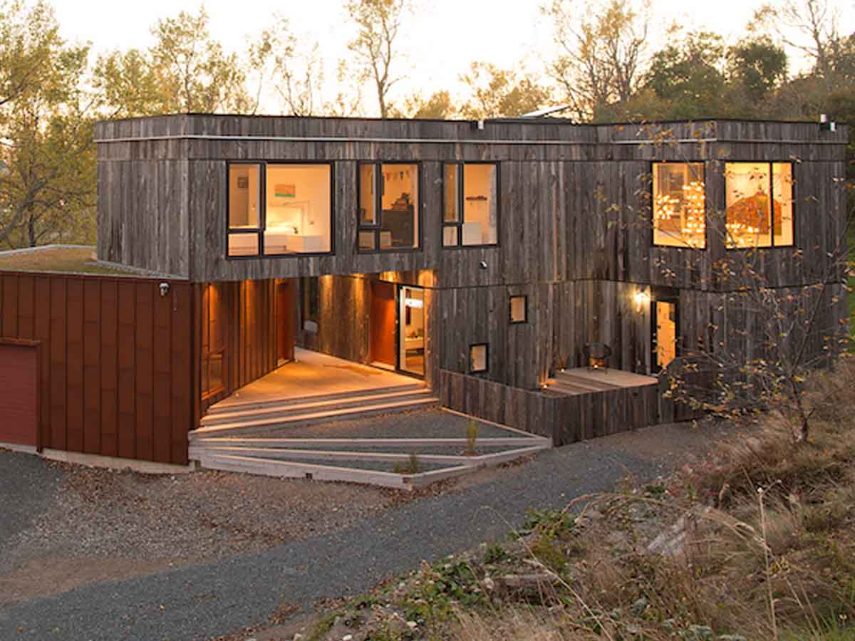Reclaimed wood facade as an architectural element on an award winning house in Canada.