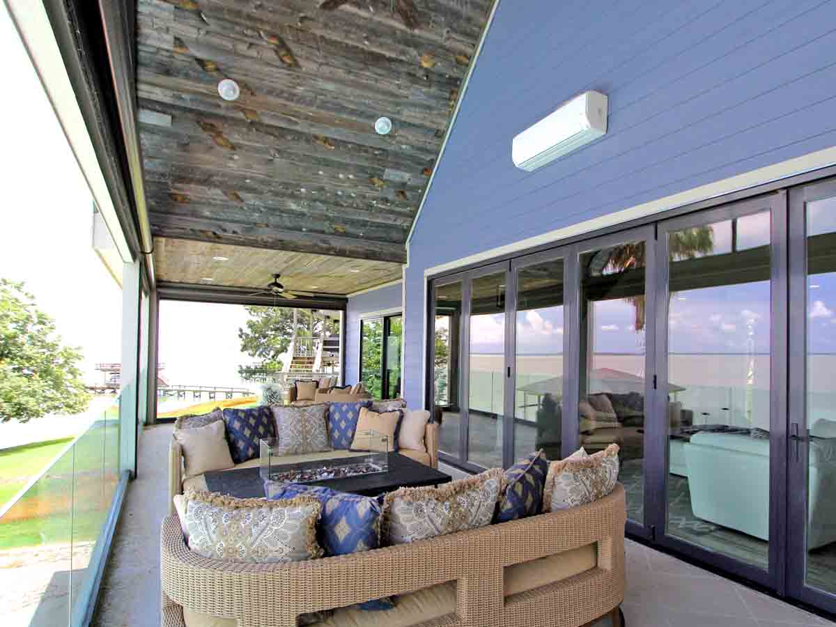 Reclaimed wood soffit on a coastal home in Texas.
