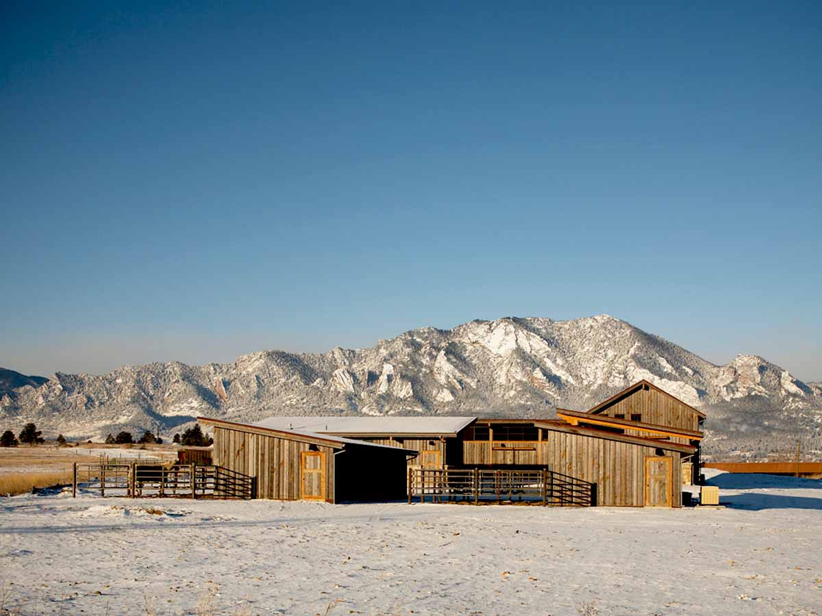 Reclaimed wood on a ranch facility in the mountains of Wyoming.