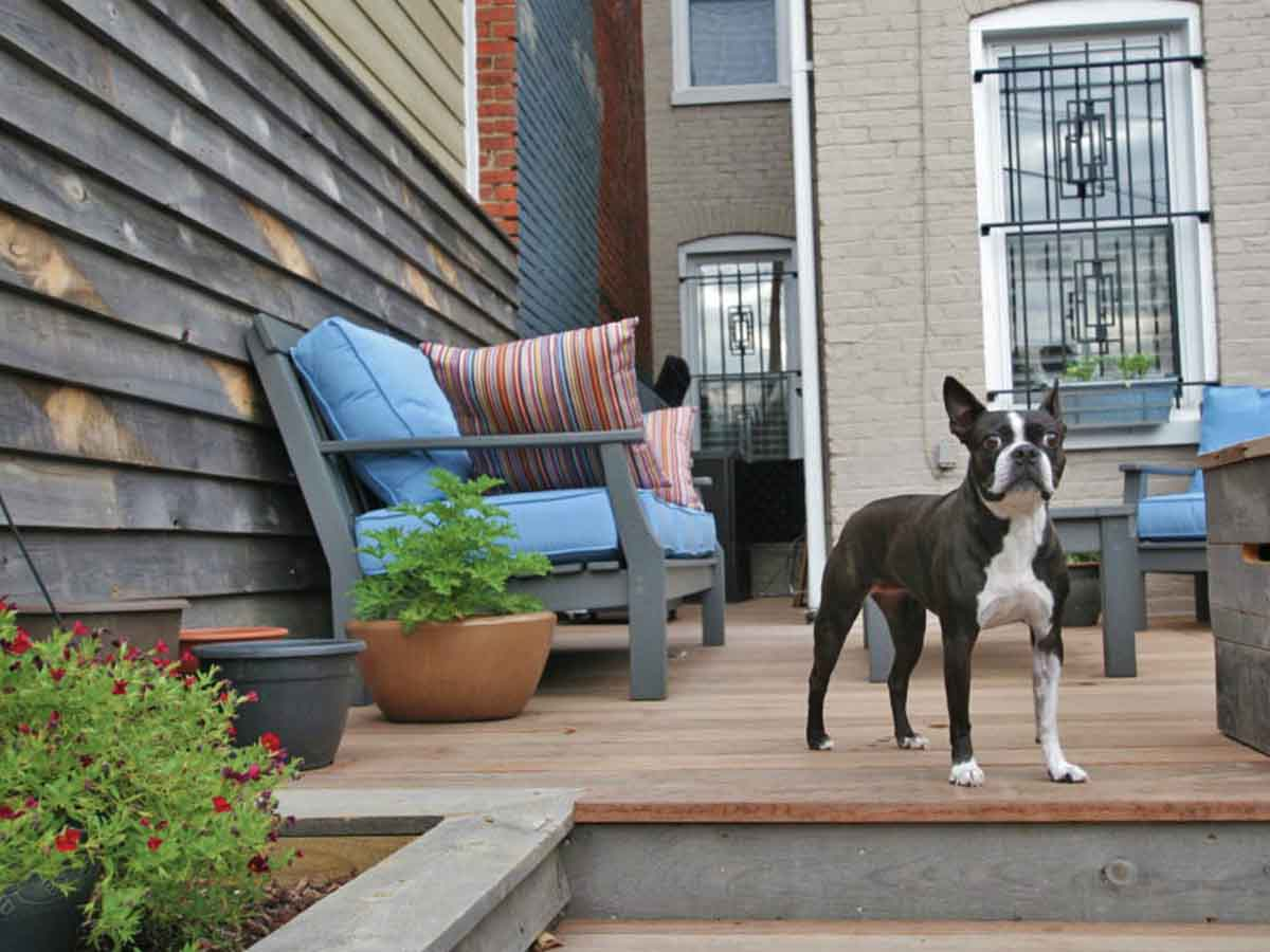 Privacy fence made with reclaimed wood from Centennial Woods by Galaxy Homes near Washington DC.