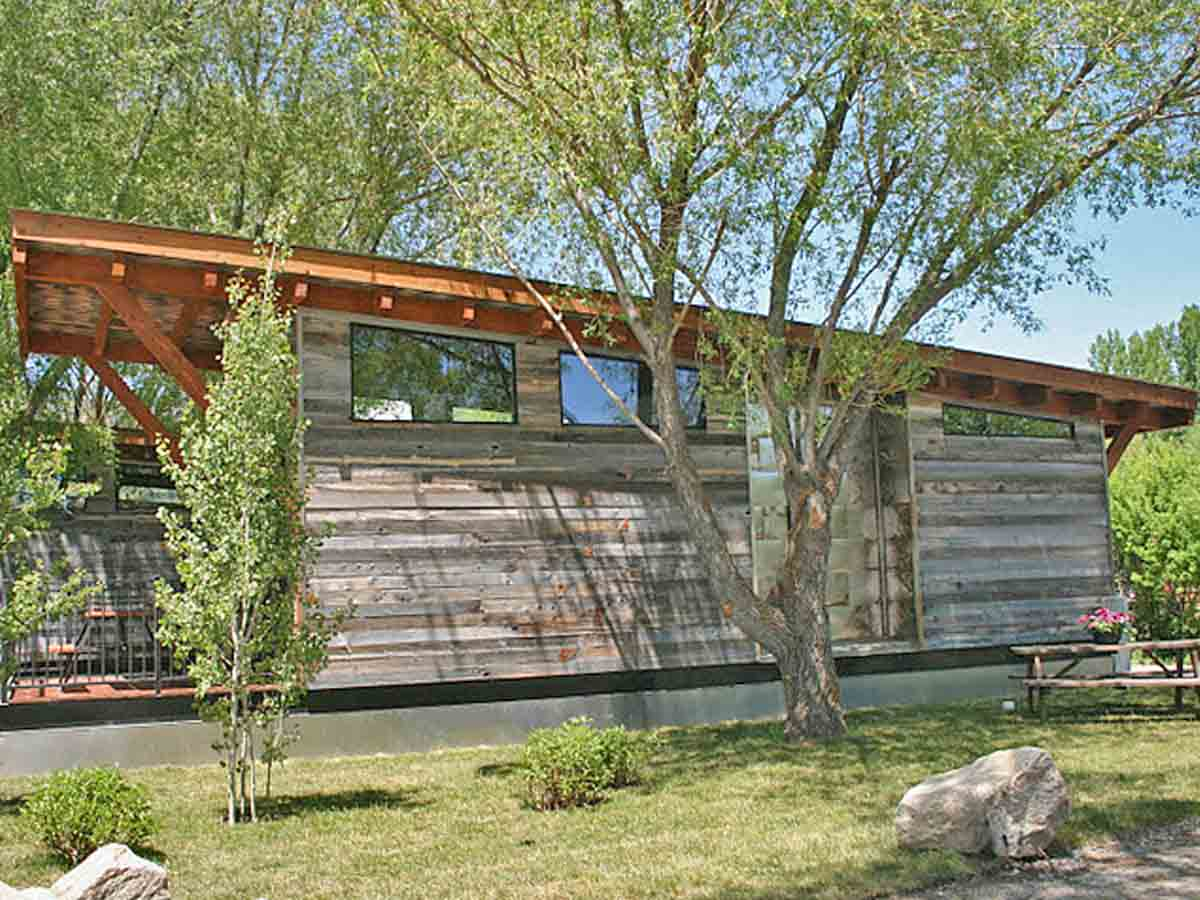 Reclaimed wood siding on a tiny home at Fireside resort in Jackson Hole, WY.