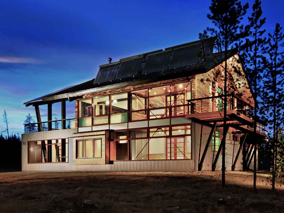 Net-zero home in Fraser, CO with carbon-negative, biophilic design elements including reclaimed wood siding from Centennial Woods.