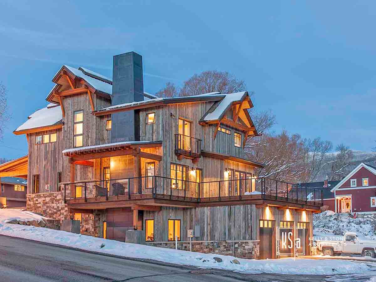 Ski house with reclaimed wood siding in Old Town Steamboat Springs, CO.