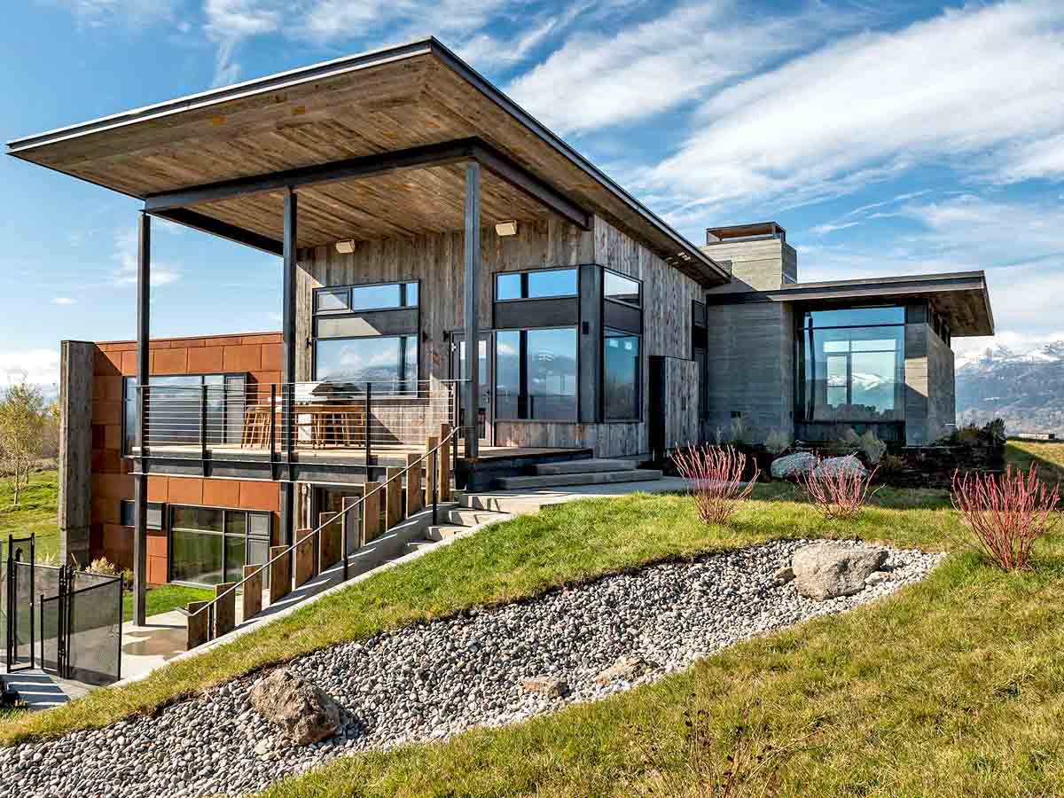Modern reclaimed wood facade on a modern home in Wyoming.