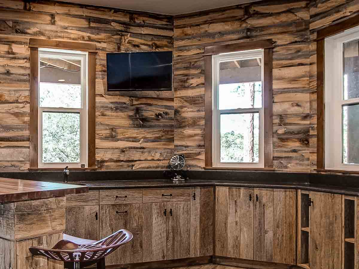 Rustic wood paneling in the Wheatland finish by Centennial Woods.