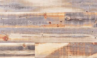Reclaimed wood in a rustic finish.