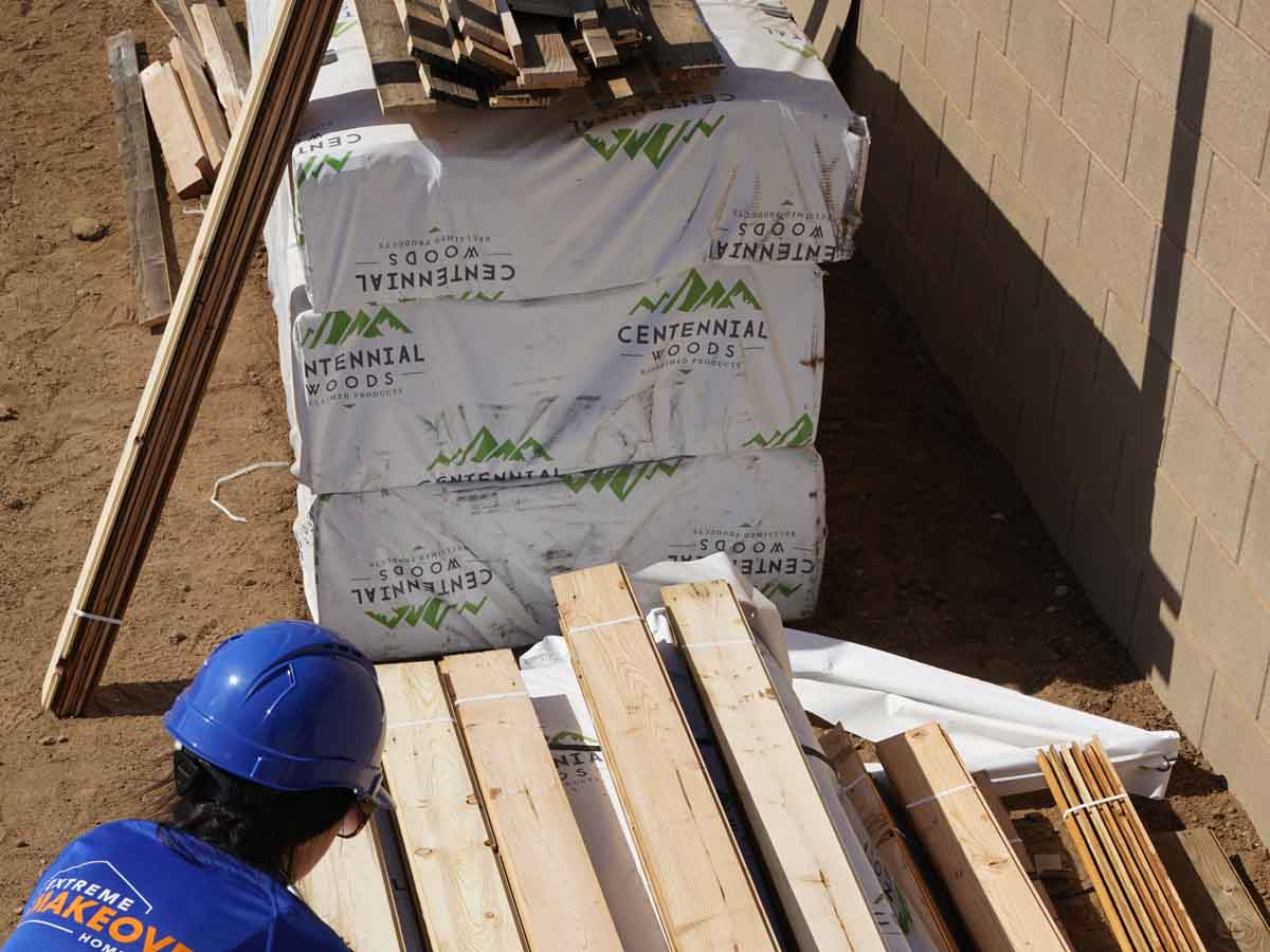 Extreme Makeover Home Edition episode 4 reclaimed wood arrives on the build site.