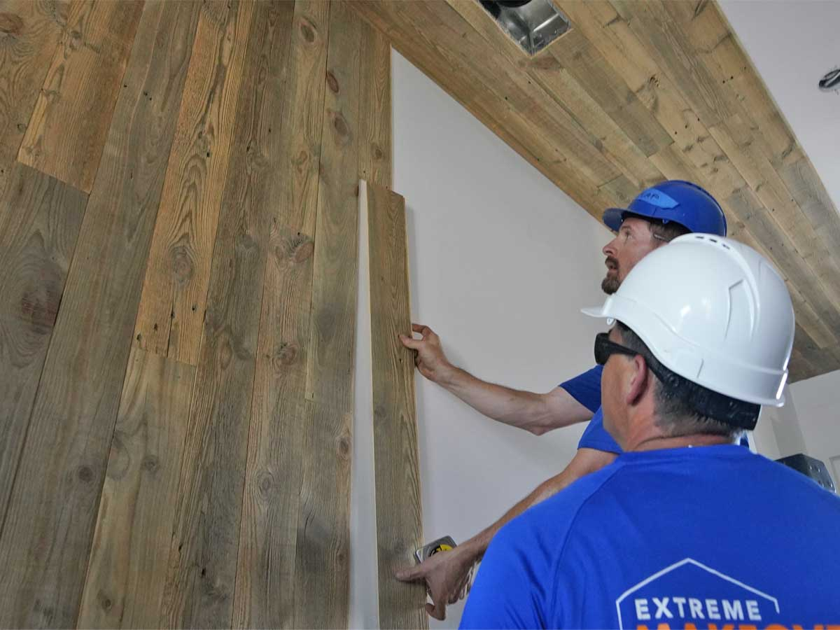 Extreme Makeover Home Edition episode 4 installing Centennial Woods reclaimed wood planks.