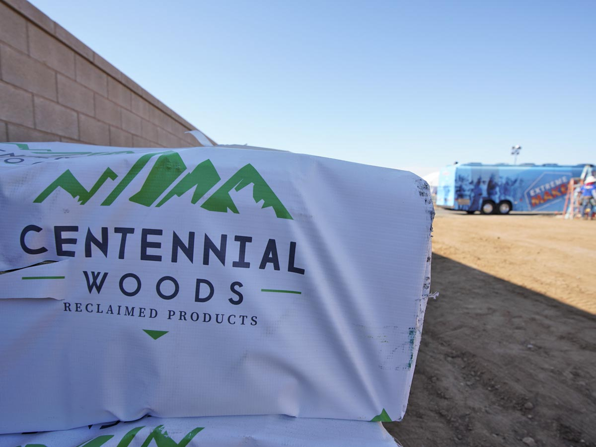 Extreme Makeover Home Edition episode 4 reclaimed wood delivery to site.