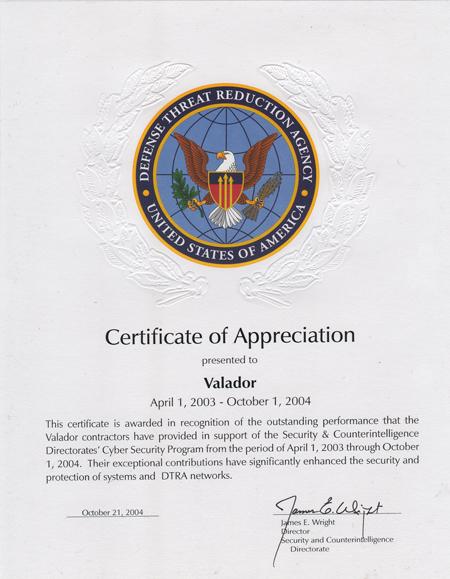 DTRA Certificate of Appreciation