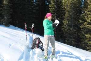 """AAI instructor, Fitz, explaining some """"snow-pack rules""""."""