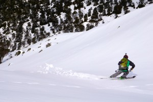 "Skiing the ""Cody Chute"".  Photo courtesy Mike Garrett"