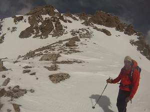 The Southwest Couloir in stellar conditions for a winter ski descent.