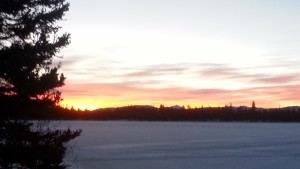 A view of the sunrise over Bradley Lake.  Mt. Leidy can be seen in the background.